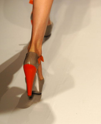 DKNY shoes on the model runway